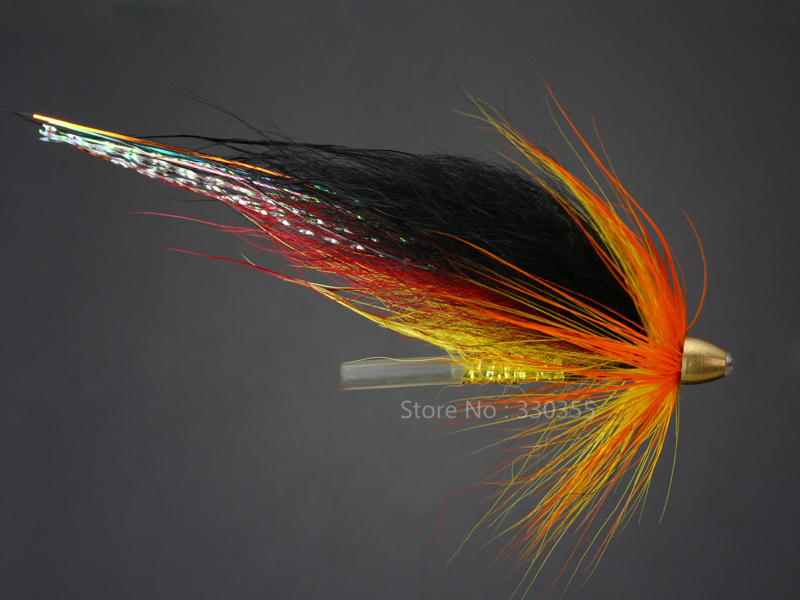 100 Pcs Tube Fly Black/Orange #B Cone Heads Salmon And Sea Trout Fly Fishing Flies Lures