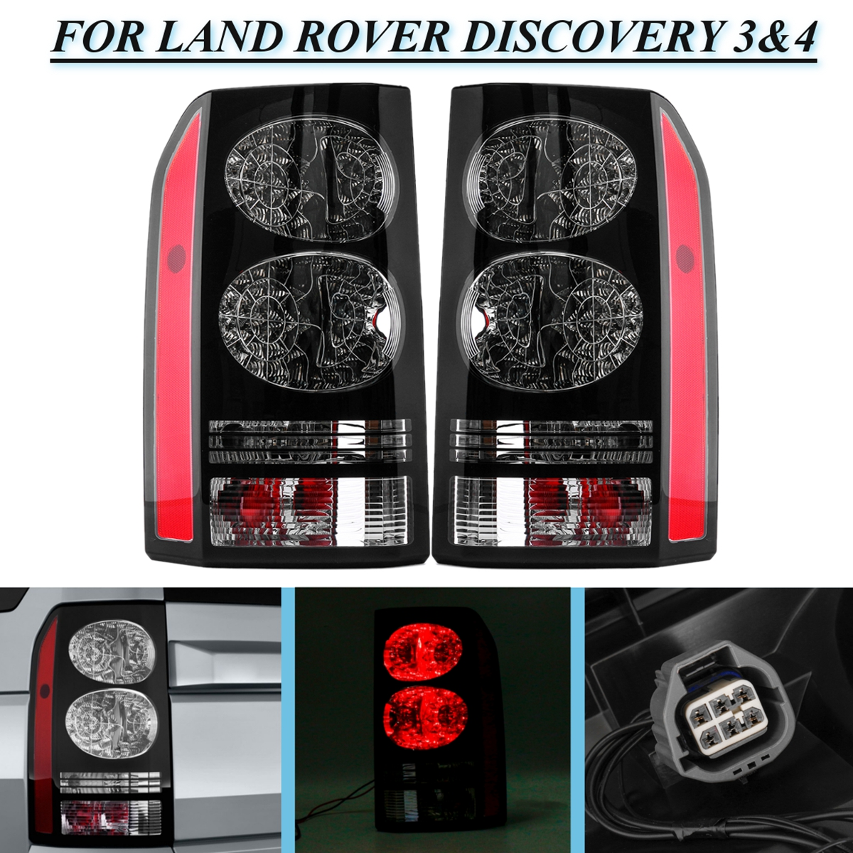for LAND ROVER DISCOVERY 3&4 04~14 2pcs Rear Car Styling Head Taillight Tail Light Lamp Brake Lights Bumper Reflector Stop Light rear brake light tail light stop light taillight warning light lamp for suzuki swift 2005 2016