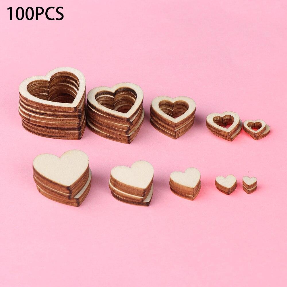 50pcs WOODEN Love HEARTS SHAPE LASER CUT Wedding Craft Arts Decoration 30mm