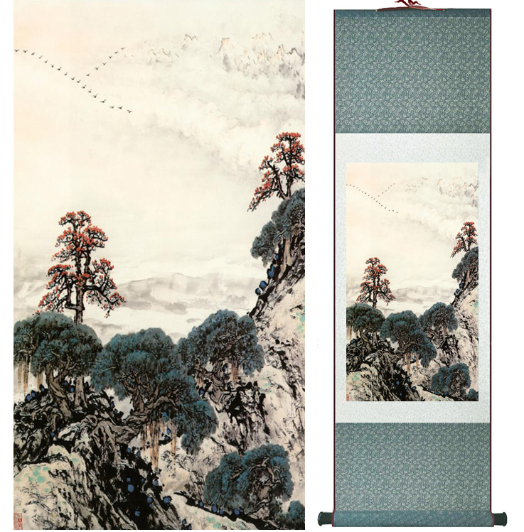 landscape painting Home Office Decoration Chinese scroll painting mountain and River paintingPrinted painting050503