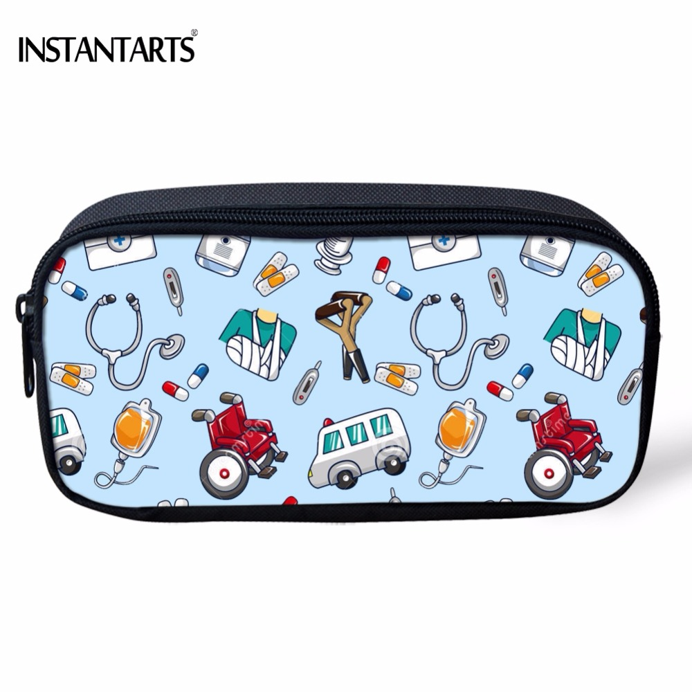 INSTANTARTS Fashion Cute 3D Cartoon Nurse Print Women Pencil Case Casual School Students Girl Pencil Bags Travel Cosmetic Cases