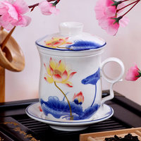 Houmaid Drinkware Chinese Style Blue And White Ceramic Teacup Sets With Lid And Fliter Porcelain Teacup And Saucers