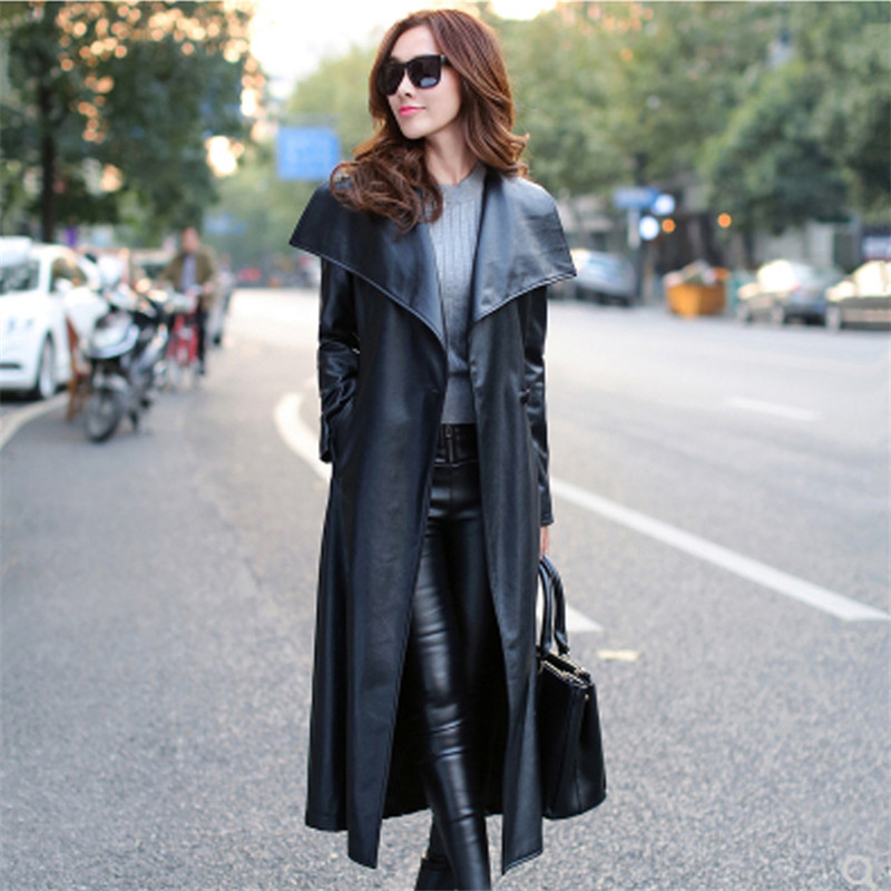 Women Long   Trench   Coat New Plus Size Fashion Solid Color Slim Lapel Windbreaker Lace Up Femme High Quality Elegant Coat MZ2969