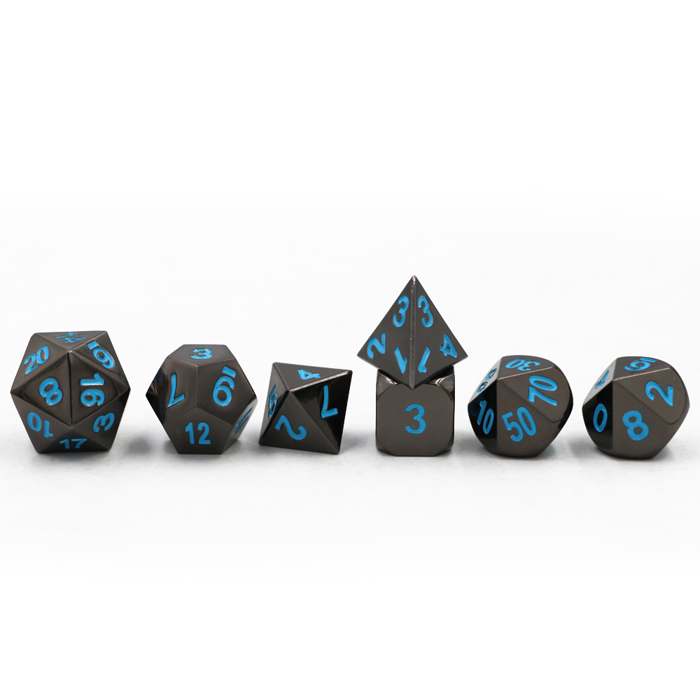 Dungeons & Dragons 7 pcs/ensemble Creative RPG Dice D & D En Métal Dés MDN placage Noir Nickel Bleu Police D4 D6 D8 D10 D12 D20