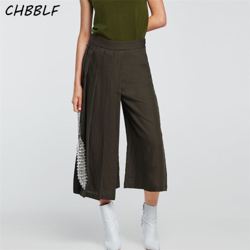 CHBBLF women elegant solid pleated   wide     leg     pants   pocket zipper fly design female casual fashion chic trousers LKL8015