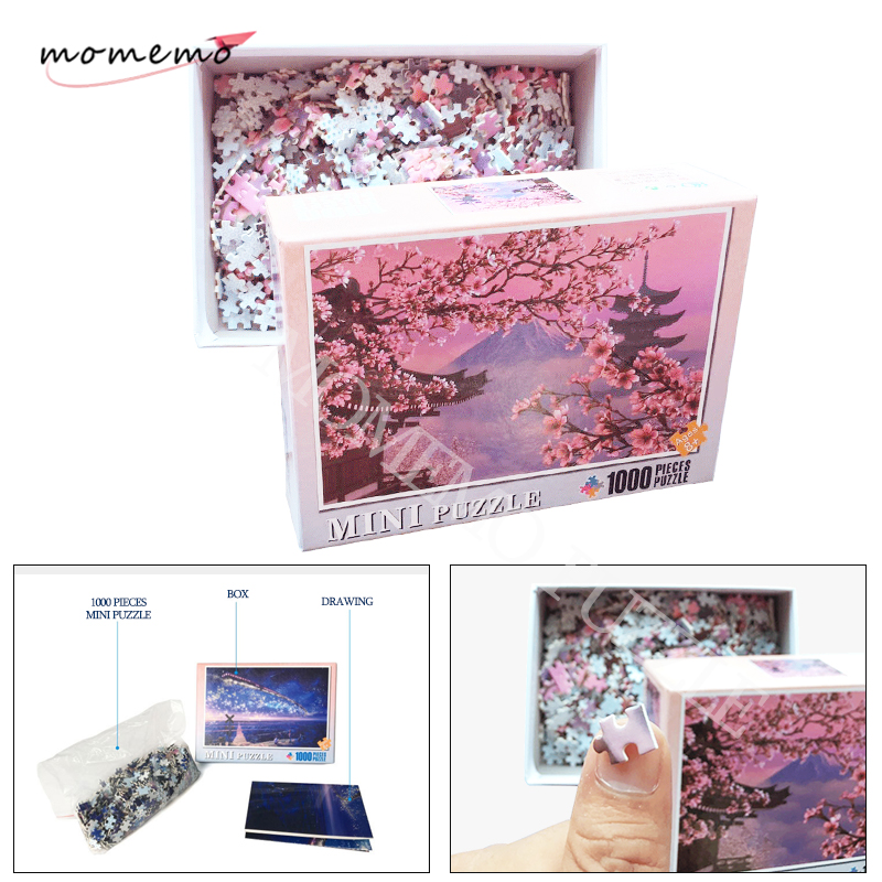MOMEMO Sakura Adult Puzzle 1000 Pieces Landscape Jigsaw Puzzles For Adults Wooden Assembling Puzzles Toys Kids Educational Gifts