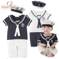 Baby Boy Cotton Outfit Sailor Navy Style Hat And Romper Short Sleeve 2 Colors Jumpsuit Infant