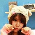 Invierno Para Mujer de punto Trenzado de Punto de Ganchillo Tapas Ocasionales Orejas de gato Gorros chicas calientes sombreros lindos