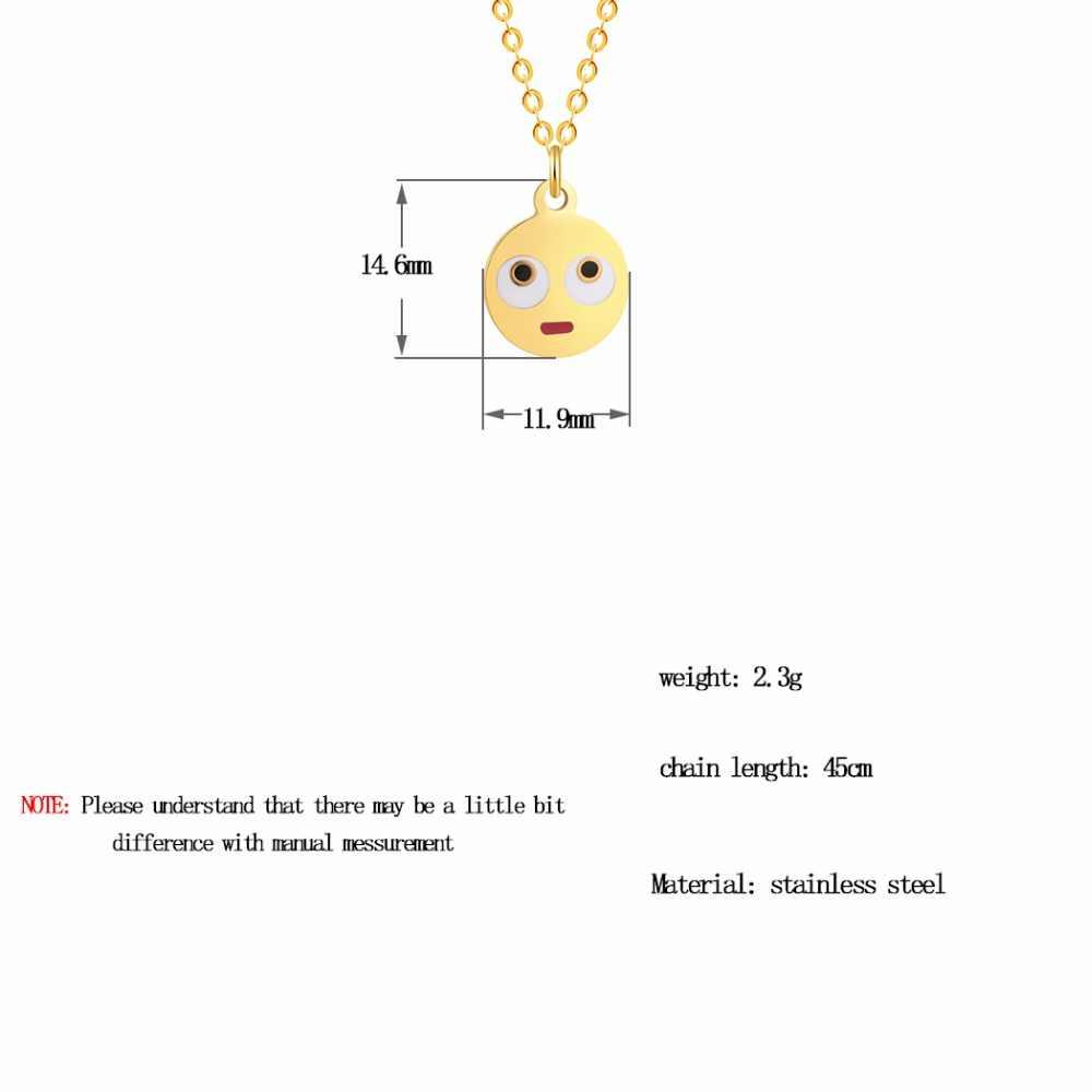 Moda de ouro colar de instrução feminina bebê crianças crianças boho jóias bonito emoji pingente animal corrente colares presente