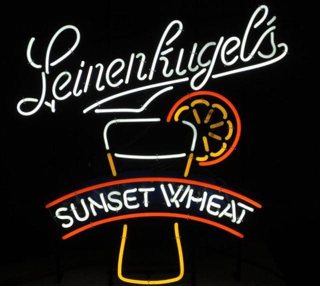 LEINENKUGEL'S SUNSET WHEAT Glass Neon Light Sign Beer Bar