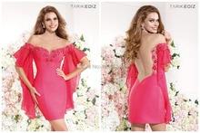 2014 Tarik Ediz Cocktailkleider Schulterfrei Perlen Blumen Neue Stil Kurzarm Mini Satin Prom Partei Pageant Kleider