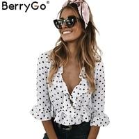 BerryGo Ruffle V Neck Chiffon Blouse Shirt Women Tops 2017 White Blouse Blusas Summer Flare Sleeve