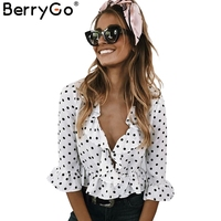 BerryGo Ruffle V Neck Chiffon Blouse Shirt Women Tops 2017 White Blouse Blusas Summer Flare Sleeve