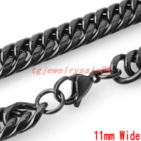 High Quality 11mm Wide Black Stainless Steel Cuban Curb Link Chain Cool Men's Bracelet Or Necklace Jewelry 7-40inch Free Choose