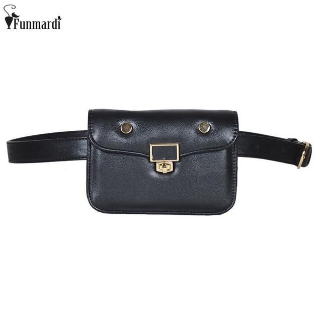 2edbe9883 FUNMARDI nueva moda cintura para las mujeres Simple Casual Mini bolsas de  cuero de marca famosa