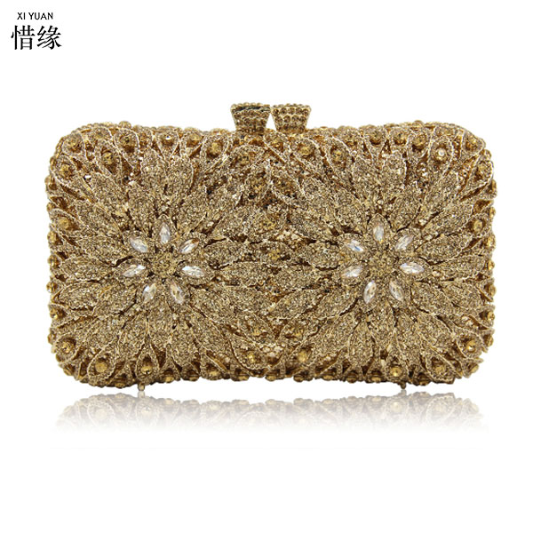 New Design Evening Bag gold Stone Crystal Luxury Day Clutch Bag Diamond Ladies Handbags Beaded Party Purse Bride Wedding Bag