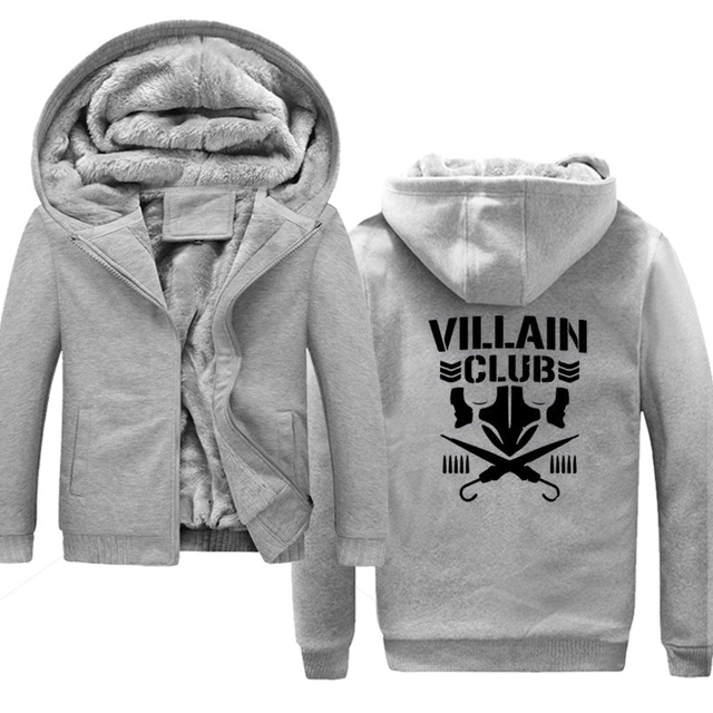 2018 Autumn Winter Marty scurll villain club Men Fleece Warm Hoodies Jacket Hooded Sweatshirt Male Pocket Coat Plus Size