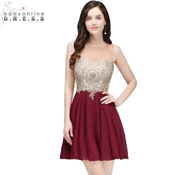 Vestido de fiesta corto de encaje Borgoña elegante Vestido de fiesta de gasa con apliques baratos Mini Vestido de fiesta de noche