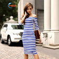 15 New Arrival Fashion Half Sleeve Stripe Long Dress Sexy Slim Woman Dress Summer vestido de verano