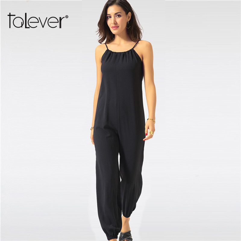 Summer Jumpsuit for Women Sexy Casual Black Sling Backless Lantern Pants Female Overalls Elegant Beach Rompers Plus Size Zevrez