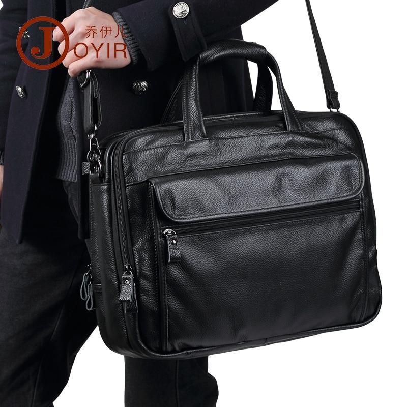 JOYIR luxe en cuir véritable hommes porte-documents décontracté Business sac à main Portable grande capacité épaule Messenger sac 15