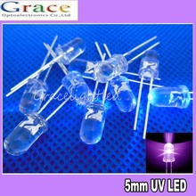 Neue 100 Stücke 5mm Super Ultra Violet LED UV Lampe 2500mcd Freies Verschiffen