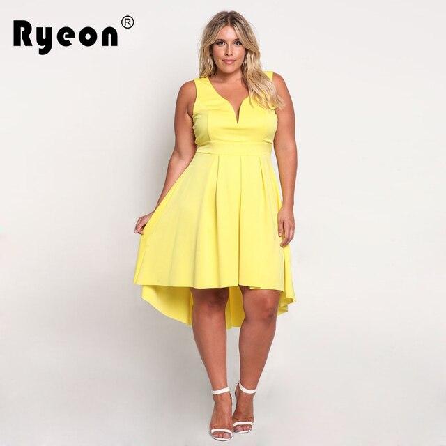 82d90b65e1 Ryeon Abiti Big Taglie 2017 Estate Partito Sexy Club Tunica Vestito  aderente Donne Plus Size Vintage