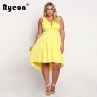 Ryeon Dresses Big Sizes 2017 Summer Party Sexy Club Tunic Bodycon Women Dress Plus Size Vintage Black Yellow Pink Dress Vestidos
