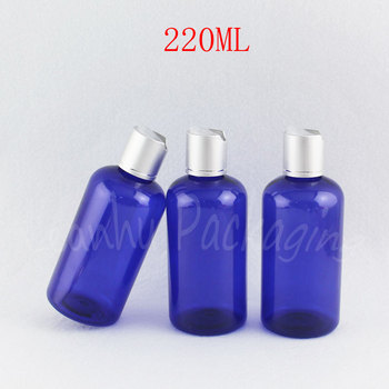 220ML Blue Plastic Bottle With Silver Disc Top Cap , 220CC Shampoo / Lotion Packaging Bottle , Empty Cosmetic Container