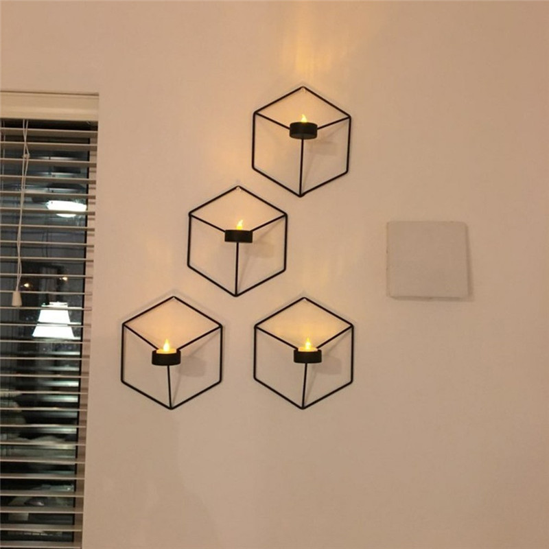 3D Geometric Candlestick Metal Wall Candle Holder Nordic ... on Decorative Wall Sconces Candle Holders Centerpieces Ebay id=19544
