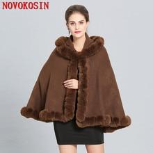 SC281 2018 Plus Size Women Winter Soft Pashmina Fake Fox Fur Collar Loose Poncho Capes Short Grey Cardigan Coat With Hat