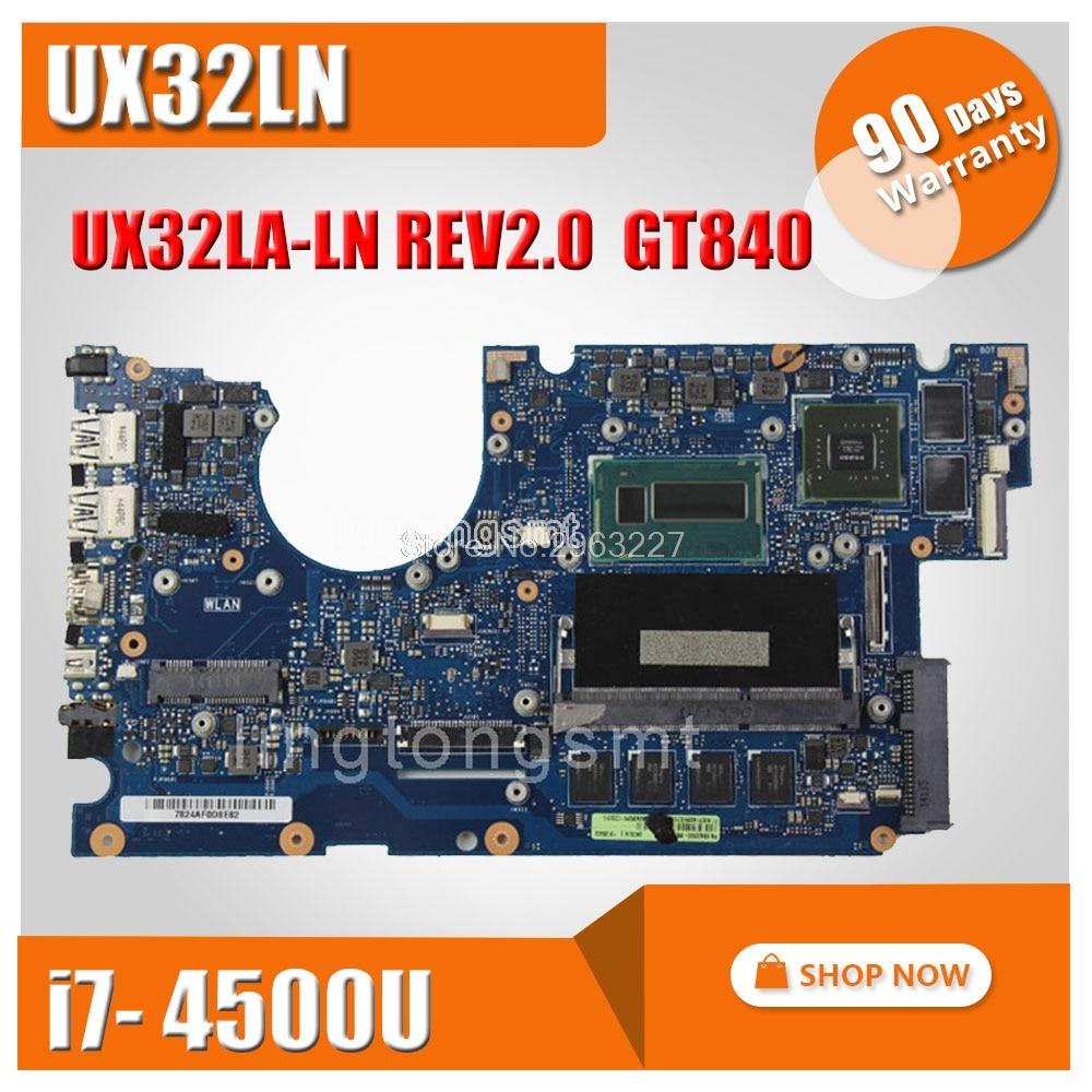 все цены на Original for ASUS UX32L UX32LN Laptop motherboard UX32LA-LN REV2.0 Mainboard Processor i7-4500U 4G Memory GT840 100% tested онлайн