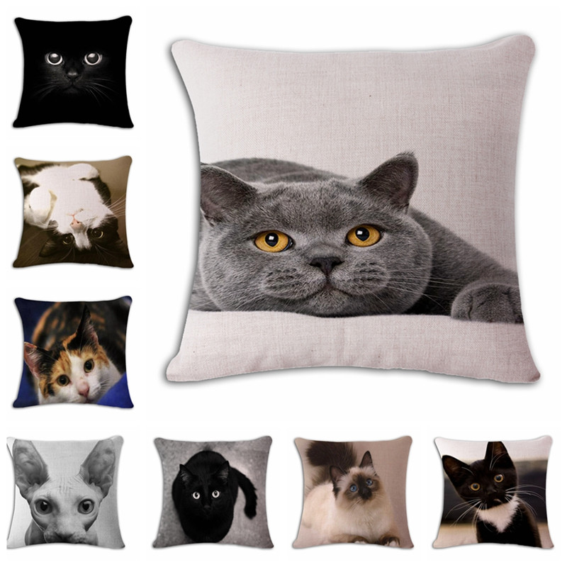 square printed linen cushion cover colorful cartoon cats decorative sofa pillow case fashion