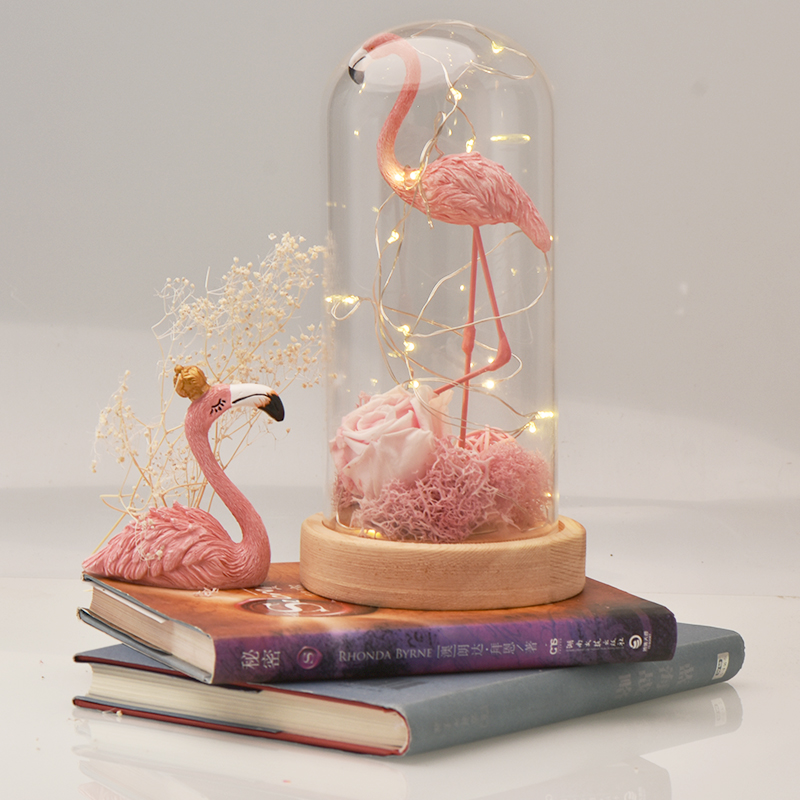 Home & Garden Artificial Decorations Pink Flamingo Rose Eternal Flower With Led Light Great Wedding Decor Wooden Base Best Gift For Christmas Valentines New Year
