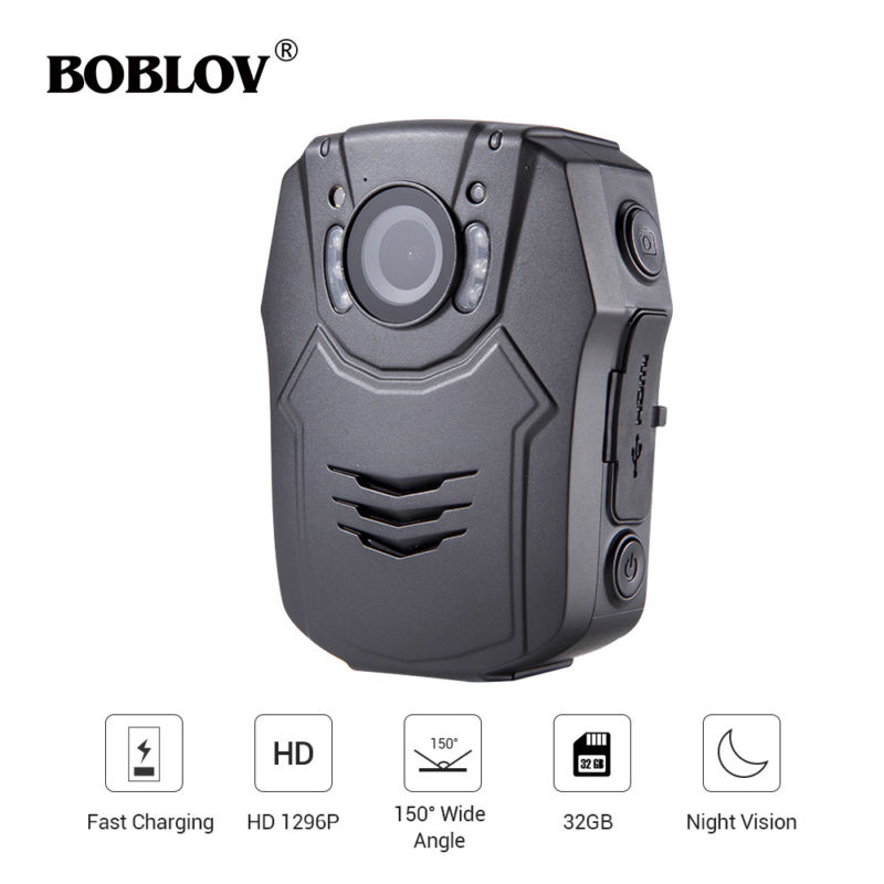BOBLOV PD50 Body Camera Policial HD 1296P IR Night Vision Security Pocket Police Camera 32GB Video Recorder DVR Security Guard