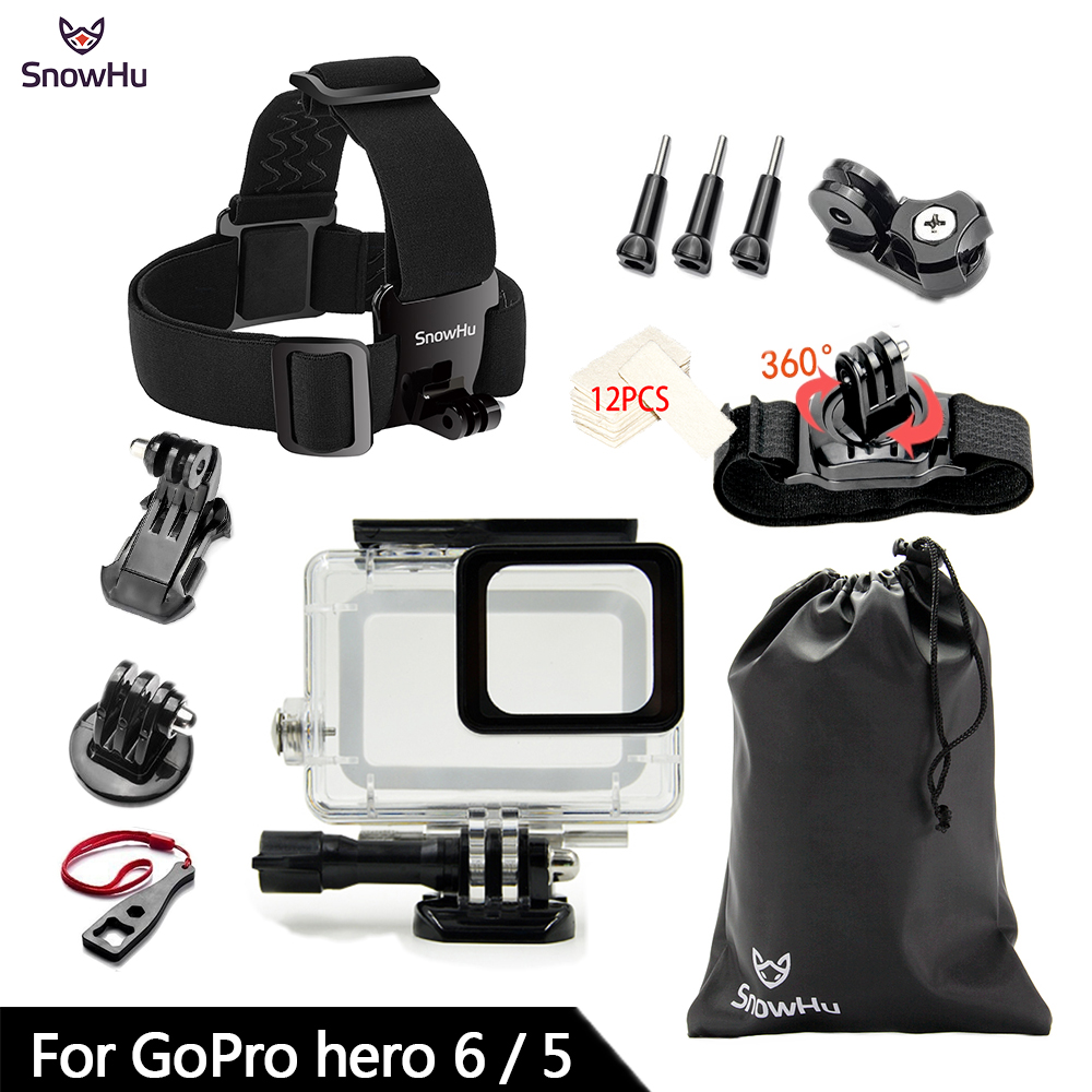 SnowHu for Gopro Accessories Set For Gopro hero 8 7 6 5 Waterproof case Protection Frame monopod for Go pro 7 6 gopro 8 GS73