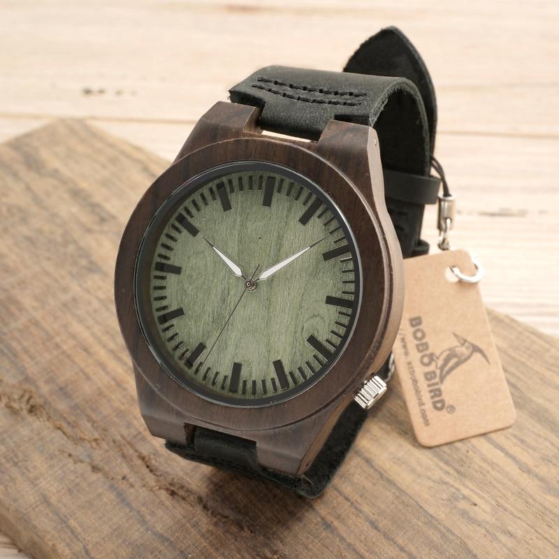 BOBO BIRD Men s Wooden Watches Black Ebony Wood Bamboo Casual Analog Watch Case With Janpanese