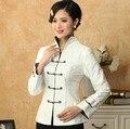 Fashion Trends White Lady Linen Cotton Tang Suit Chinese Classic Jacket Long-Sleeve Clothing Coat Size S M L XL XXL XXXL T019-E