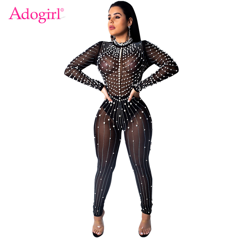 Adogirl Pearls Diamonds Sheer Mesh   Jumpsuit   Women Sexy Long Sleeve Night Club Party Outfits Fashion Romper Female Jumper Apparel