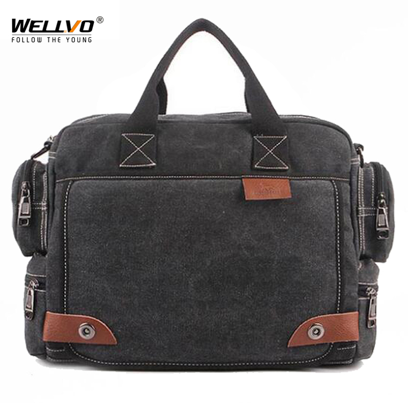 Multifunction Canvas Bags High Quality Men Business Bag Casual Tote Bag for Men Travel vintage Solid Handbag briefcase XA107WC aosbos fashion portable insulated canvas lunch bag thermal food picnic lunch bags for women kids men cooler lunch box bag tote
