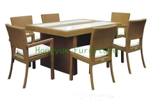 patio rattan dining furniture with cushion and glass