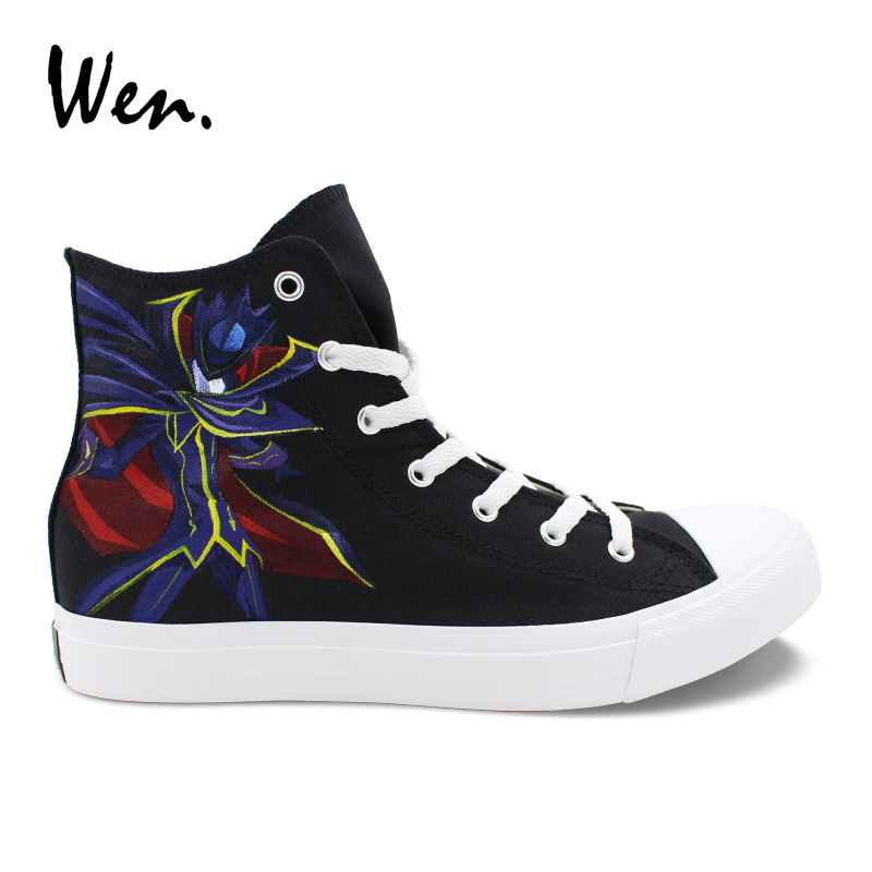 Wen Anime Stylish Neutral Vulcanize Shoes Code Geass Lelouch Hand Painted Sneakers Canvas Black Flat High Help Low Heeled LoaferWen Anime Stylish Neutral Vulcanize Shoes Code Geass Lelouch Hand Painted Sneakers Canvas Black Flat High Help Low Heeled Loafer