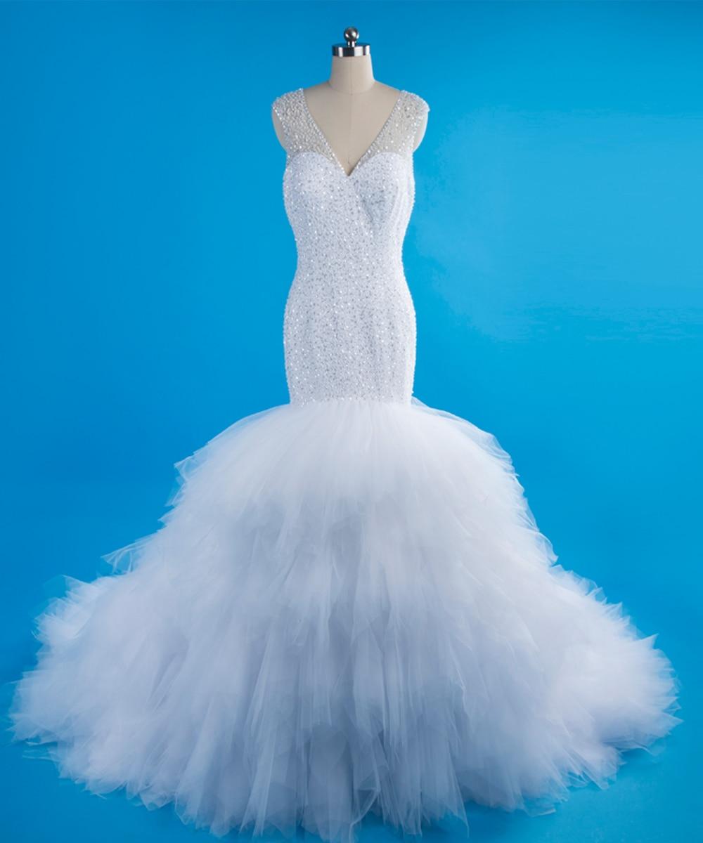 Luxury Crystals Puffy Kaftan Dubai Mermaid Wedding Dresses Long Tail ...