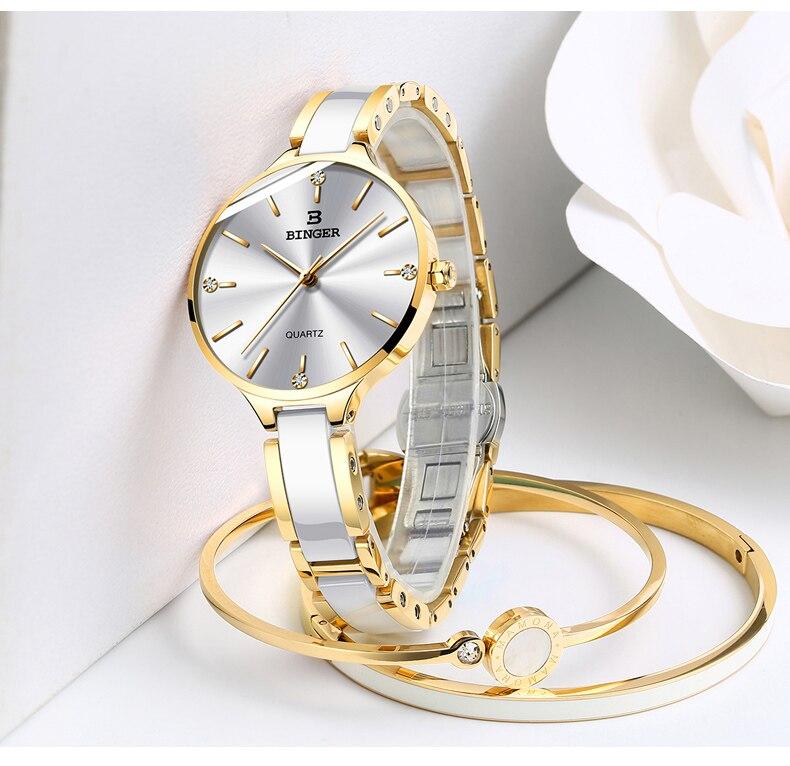 BINGER Mode Luxus Damen Uhr Stahl und keramik band Quarz Frauen Uhren Top Marke Wasserdichte Uhr Relogio Feminino - 2