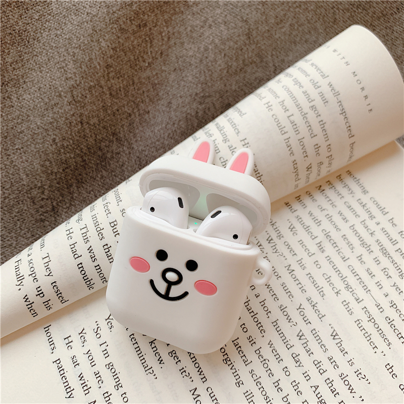 Silicone Case for Airpods Accessories for i10 TWS Bluetooth Earphone Protective Cover Bag Anti-lost Strap Cute Cartoon bear DIY2