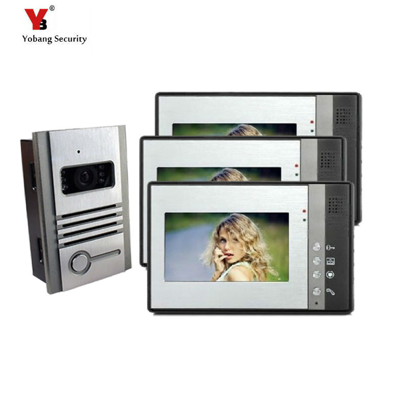 Yobang Security 7 inch Color Villa Video door phone Video Intercom doorphone IR system outdoor Metal panel home improvement kits yobang security 7 inch video door phone visual doorbell doorphone intercom kit with metal villa outdoor unit door camera monitor