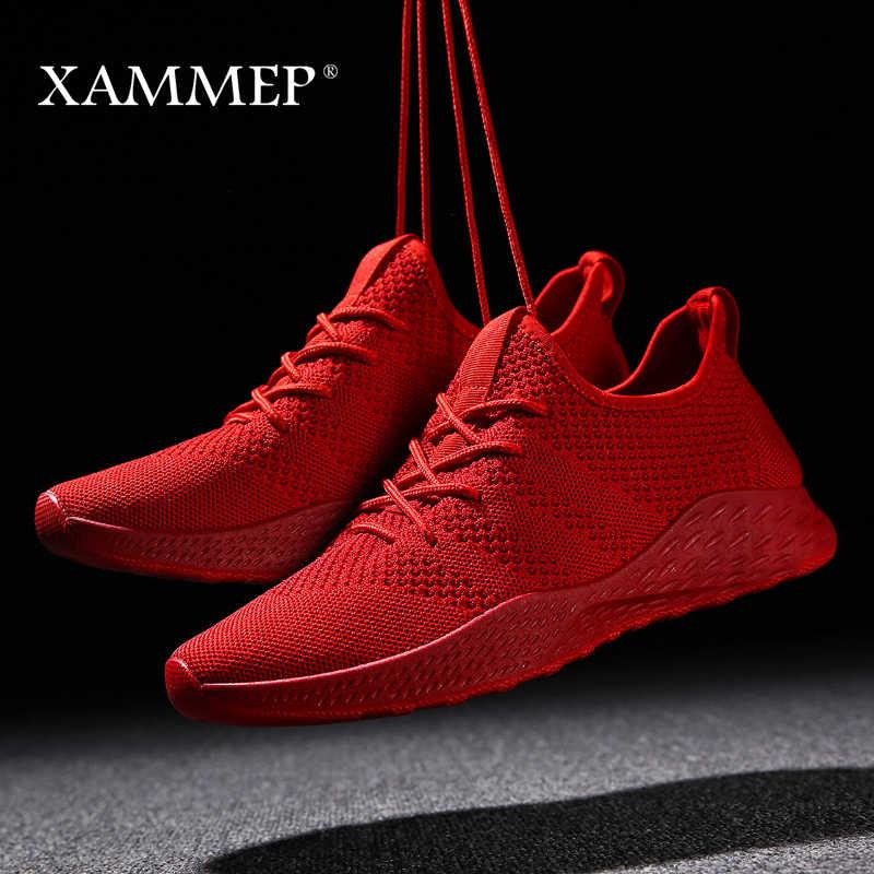 Mężczyźni obuwie męskie trampki marka mężczyźni buty męskie Mesh mieszkania mokasyny Slip On duży rozmiar oddychająca wiosna jesień zima Xammep