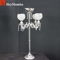 HeyMamba 6pcs Silver Plated Crystal Candle Holder Metal Candelabra For Wedding Floor Centerpiece Decoration