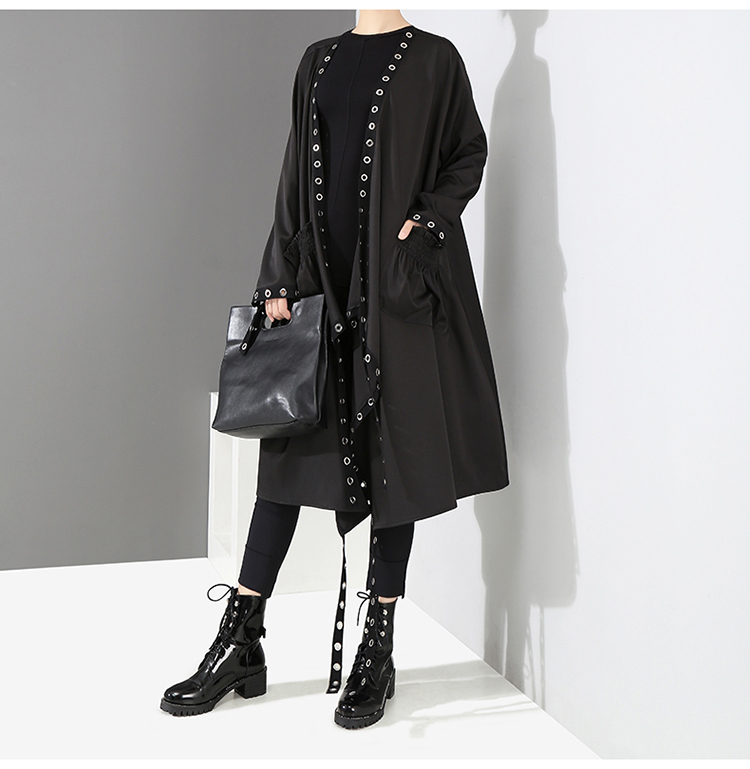2019 Korean Style Women Very Long Solid Black Jacket Open Design Long Tape Stitched Metal Holes Female Stylish Loose Jacket 3843