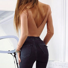 Cotton long sleeve one shoulder slope neckline bodysuit 2019 autumn winter women solid sexy backless body Sexy V Back(China)